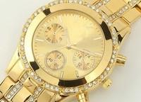 2014 New kors Gold Double row Rhinestone alloy Watches Luxury Big Brand Women Ladies dress watches clock Quartz WristWatch
