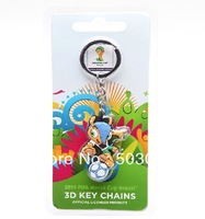 Free shipping 2014 Brazil World Cup mascots fuleco 3D-sided key chain Authentic  Pendant   World Cup souvenirs