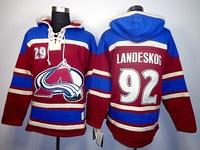 Free Shipping Colorado Avalanche #92 Gabriel Landeskog Burgundy w/Blue Hockey Hoodies Jersey Ice Winter Old Time Hockey Hoodie