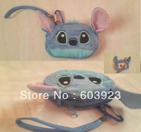 Free shipping (1 pieces/lot) plush blue stitch coin purse / wallet mobile bag stitch handbag Camera bag