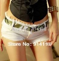 New Fashion Pure White Jazz Dance Costumes/Sexy Skinny Nightclub Jeans Low-Waistline Shorts Free Shipping S M L SizeS LD-P1020