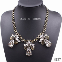 Minimum Order $10 2014 vintage gold plated chain pendant necklace crystal jewelry for women in party free shipping