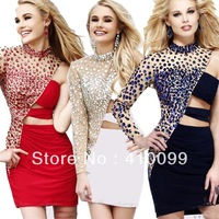 2013 Hot New Free Shipping Heavy Beadings Custom made Fashion Chiffon Cocktail Dresses