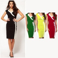 2014 fashion patchwork vintage career office ladies OL celebrity british dresses Knee-Length Dress vestidos free shipping