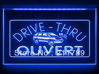 AC057 B OUVERT Drive Thru Shop Cafe Food LED Light Sign