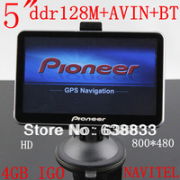 "FREE SHIPPING 5"" GPS NavigatIon MTK3351 CE6.0 533M 128M Internal 4GB+AVIN+bluetooth+ FM 480*800 +mp3/4/5+map IGO9 PRIMO/NAVITEL"