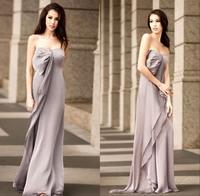 2014 cheap long grey chiffon bridesmaid dress