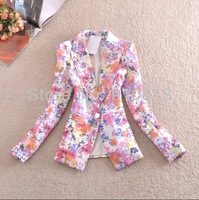 new 2014 autumn  slim notched collar  plus size  floral blazer women / women print jacket coat / fashion outerwear