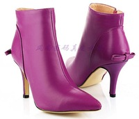 2014 new arrival women's genuine leather cowhide sexy purple bowtie zip martin ankle boots stiletto high heel boots shoes H776
