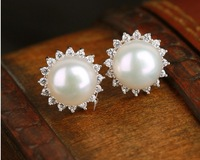 Jewelry Products Zircon Style Pearl Stud Earrings 11~12mm Dia Pearl Jewelry