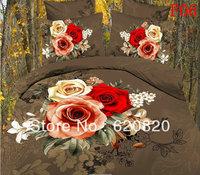 DHL New Designs 3D Beautiful Flower bedding set ,Bedcover Duvet Cover+2pcs PillowCase+ Bed Sheet total 4pcs Queen Bedsheet Sets