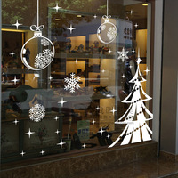 Christmas tree snow wall stickers decoration decor home decal fashion cute waterproof bedroom living sofa family house glass