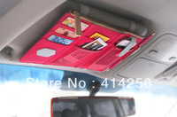 Free Shipping 100pcs/lot Sun Visor Point Pocket Organizer Pouch Hanging Storage Bag Car hanging bag Multi purpose