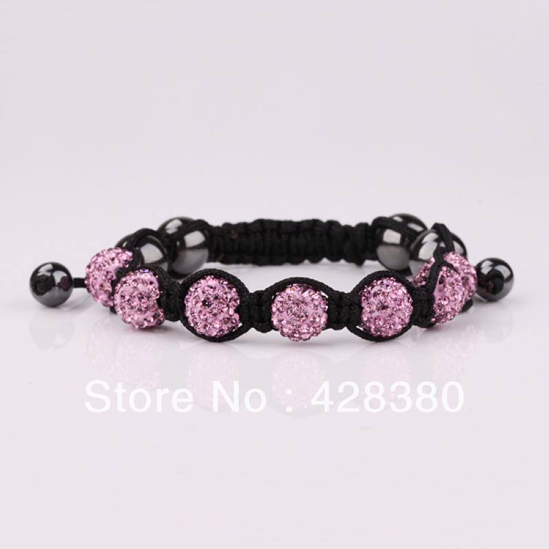 Free shipping Min & Mix Order $15 Lilac Crystal Beads Bracelet 10mm 7 Beads Shamballa Bangle Hands Jewelry SBB081(China (Mainland))