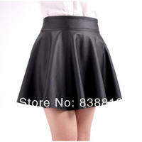 Free Shipping 2014 Women's Autumn New PU Skirt Tutu Skirt Shorts Women Pleated Waist  Female PU Small Leather Skirt  Short 6308