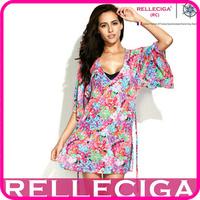 2014 New RELLECIGA Digital Floral Print Women Bikini Beach Dress Beachwear