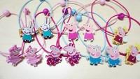 2014  Hot Sale 12pcs/lot Peppa Pig Girl Headwear  Hair Accessory Wafer elastic hair bands Pink Pig Free Shipping