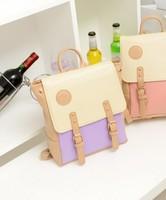 Backpack 2013 preppy style backpack student backpack rivet color block women's handbag  free shipping
