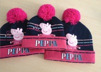 good quality animal peppa pig printed knitted baby cap boys girls winter hat for kids with hats is children's free shipping