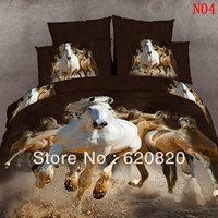 Hotest 3D visual bedding set 100% cotton leopard/Tiger/panda/Horse oil printed unique animal bedlinen bed sheet Queen sets