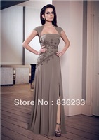 Style 2014 Dramatic Taupe Cap Sleeve Dress and Stole Chiffon and Lace Wedding Party Dress Mother Of The Bride Dresses