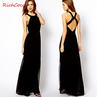 Free Shipping ABS normic racerback slim fashion long design chiffon one-piece dress tank dress d266  HOT Item