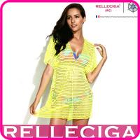 RELLECIGA 2014 Sexy Beachwear - Neon Yellow Crochet Tunic Bikini Beach Dress with Drawstring at Waistline