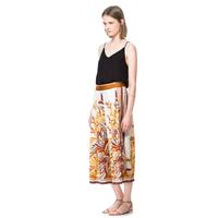 Free Shipping Luxury silk scarf print scarf print skorts loose skirt long satin chiffon pants ABS  Hot item