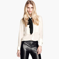 Free Shipping Invisible button front fly chiffon scarf long-sleeve chiffon shirt ABS transparent  Hot item