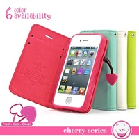 Cute Cherry Series Wallet Stand Function Case for iphone 4 4S 4G Lovely PU Leather Card Holder Holster Cover Phone Bags RCD03703