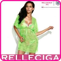 RELLECIGA 2014 Sexy Beachwear - Neon Green Crochet Tunic Bikini Beach Dress with Drawstring at Waistline