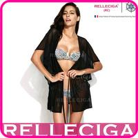 RELLECIGA 2014 Sexy Beachwear - Solid Black Bikini Beach Dress Sheer Caftan with Drawstring at Waistline