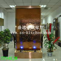 Stainless steel fountain waterfall/ money drawing fengshui wheel decoration/home decoration/humidifier background screen
