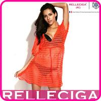 RELLECIGA 2014 Sexy Beachwear - Neon Orange Crochet Tunic Bikini Beach Dress with Drawstring at Waistline