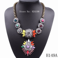 Minimum Order $10 latest model fashion colorful women crystal pendant necklace 2014 accessories free shipping