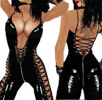 Vinyl Black Latex Sexy Catsuit Costumes Lingerie Cat Suits Club Wear For Women