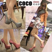 Sexy black fashion high-heeled shoes pointed toe thin heels single shoes women's platform shoes