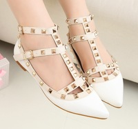 New 2014 Rivet single pointed shoes women's shoeslady fashion casual designer Sandals, Modern Stylish Women's flats