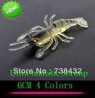Ultra-realistic Shrimp!! 4 Colors Choose 6CM Fishy Smell Shrimp Fishing Lure Soft Fishing Shrimps Bait Shrimp