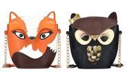 2014 New Fashion Ultra-Cute Mini-Packet Women Faux Leather Handbag Cartoon Bag Owl Fox Shoulder Messenger Travel Bags