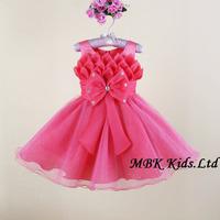 Wholesale Flower Girl Dresses New Designer 2014 Bowknot Lotus Petals Kids Princess Dresses For Girls Free Shipping MBK-13121116