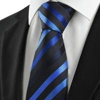 6pcs/lot Classic Striped Blue Black JACQUARD Men's Tie Necktie Formal Business Gift Microfiber man ties gravata cravat