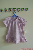 Violet cherry pattern short-sleeve T-shirt ruffle princess shirt