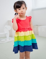 Girl beach dresses candy color dress casual dress  summer  baby kids child clothing New 2014 Fashion Brand Dress