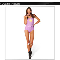 New Superior Quality Vintage Purple Smile Face Print Sexy One Piece Swim Suits For Women LT018