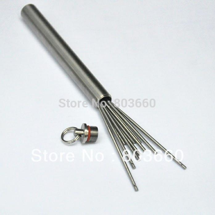4pcs titaner titanium round toothpick 1pc ti portable toothpick holder tableware set great - Personal toothpick holder ...
