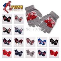 20pair/lot Promotions!! Wholesale Cartoon Spiderman glove Children's gloves free size  FKG118.3
