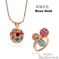 Made with Colorful Swarovski Austrian Crystal Jewelry Set, Genuine 18K Rose Gold Plated Fashion Disc Ball Necklace Ring S171