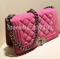 2014 small air bag fashion velvet plaid chain bag one shoulder bag cross-body women's handbag