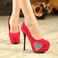 Fashion Wedding Shoes Thin Heels Platform Heart Rhinestone Design Women Pumps Red Bottom High Heels Sexy Party Shoes Woman